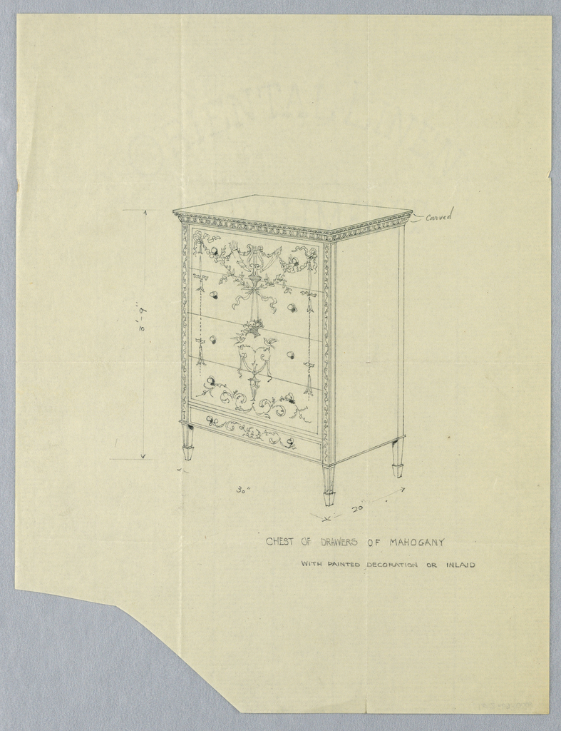 Rectangular 5-drawer chest with carved top edge and painted or inlaid neoclassical decoration at front consisting of tied ribbons, laurel leaf garlands, fruit baskets, rinceaux, etc.; raised on short tapering legs.