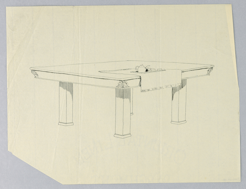 Drawing, Design for Four-Legged Rectangular Dining Table with Tea Service, 1900–05