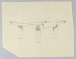 Drawing, Design for Four-Legged Rectangular Dining Table with Tea Service