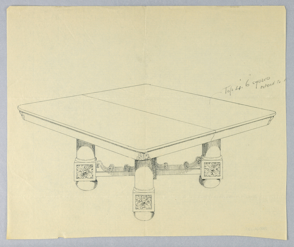 Rectangular molded and beaded table top with a dividing stretcher at center and foliate carvings at corners; is raised on four column-like legs joined by molded stretchers and terminating in carved square elements on bun-feet.