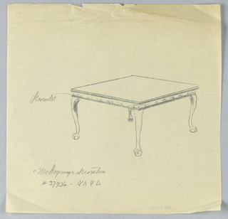 Rectangular molded table top with suggested inlay decoration aroung lower rim, raised on 4 cabriole legs terminating in carved ball-and-claw feet.