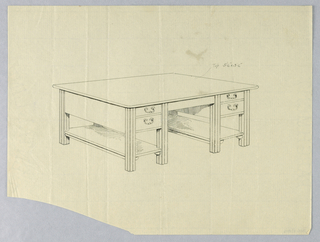 Drawing, Design for Massive Library Table with Square Fluted Legs and Open Stretcher Shelves, 1900–05