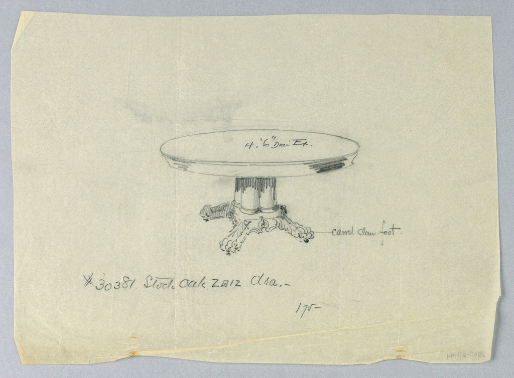 Drawing, Design for a Round Oak Dining Table with Animal Paw Feet