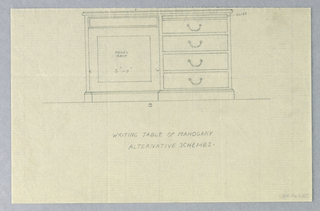 Drawing, Design for Writing Table with Alternate Schemes, 1900–05