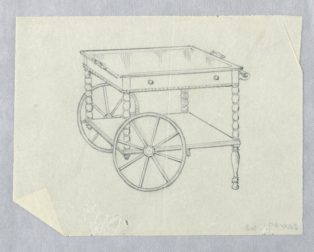Narrow rectangular body fitted with top tray with its own handles, shelf at front raised on 4 straight turned legs; conforming lower shelf attached and supported by 2 large bicycle wheels on left and 2 baluster-like legs on right; long horizontal steering handles attach at side of body.