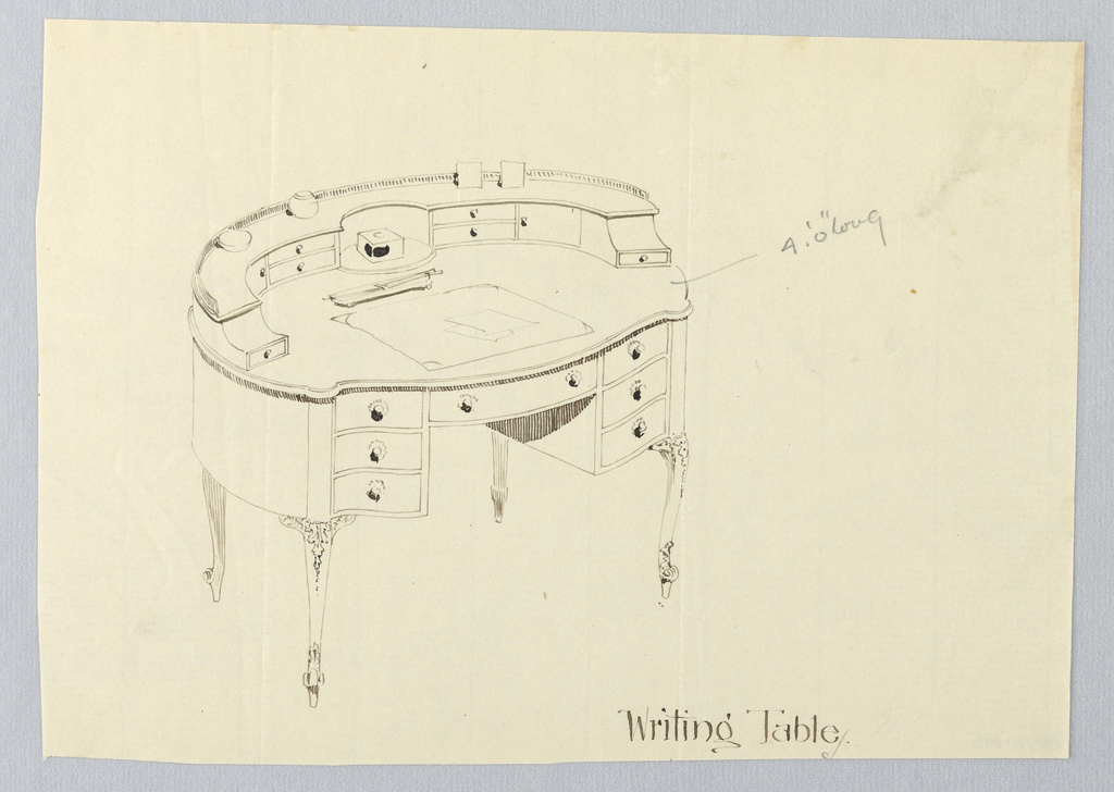 Drawing, Design for Oval Writing Table with Blotter and Letter Opener Atop