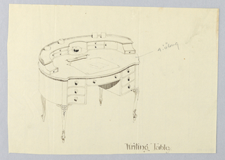 Drawing, Design for Oval Writing Table with Blotter and Letter Opener Atop, 1900–05