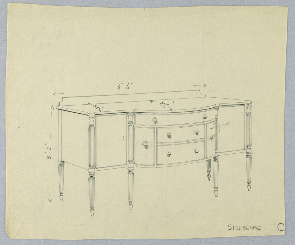 Rectangular sideboard on six fluted straight tapering legs; tripartide front has convex central section containing five drawers - two horizontal drawers flanked by a single vertical drawer on each side and topped by single horizontal drawer with pair of round pulls; low backsplash.