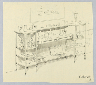 Open tri-partite cabinet with curving table top-like shelf center between molded conforming bracket-shaped shelves and small cubic glass display cabinet with 2 lower shelves either side; raised on 8 tapering legs; books, photographs, glass, and procelain on upper shelves; lower part of a painting suggested center, above cabinet.
