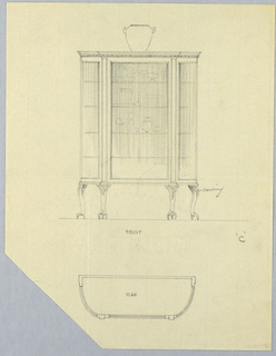 Elevation (central and upper section of sheet): tri-partite glass front cabinet with 4 shelves and carved frieze; raised on 4 carved cabriole legs terminating in ball-and-claw feet; vase atop cabinet and several other vessels on shelves inside cabinet.