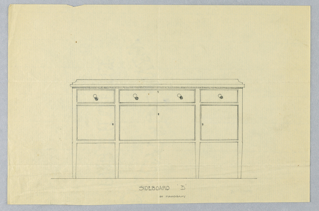 Front view of rectangular sideboard on four straight tapering legs; tripartite front with large central section with keyhole at center surmounted by horizontal drawer with round pulls and keyhole at center; smaller front sections that flank central section each have a single drawer with one round pull at center.