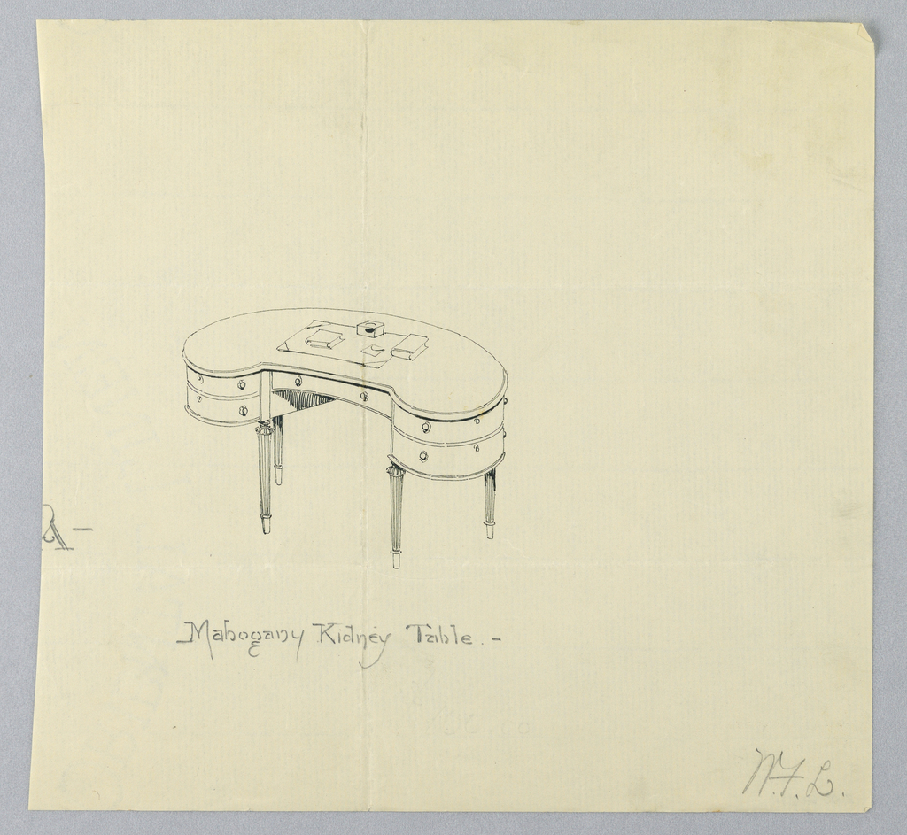 """Drawing, Design for """"Mahogany Kidney Table"""""""