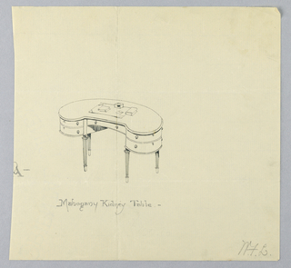 "Drawing, Design for ""Mahogany Kidney Table"", 1900–05"