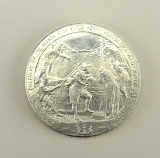Medal commemorating the discovery of Hudson River and first use of Steam Navigation on Hudson River.   Obverse: Three allegorical figures seated below a medallion with facing bust of Robert Fulton. Reverse: Henry Hudson and four sailors on board a ship.