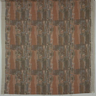 Bark-like effect in muted browns, grays, greens, on dark gray linen.