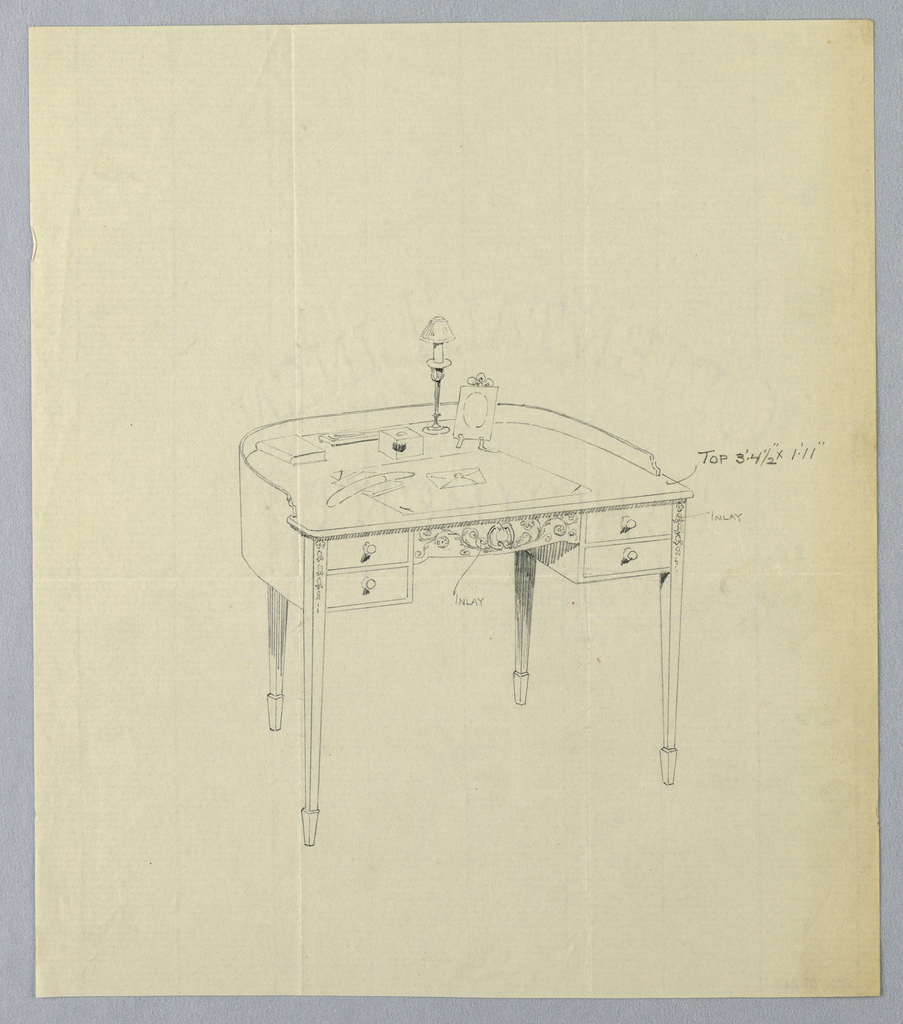Drawing, Design for Semi-Circular Writing Table with Ornate Carved Panel Center Front