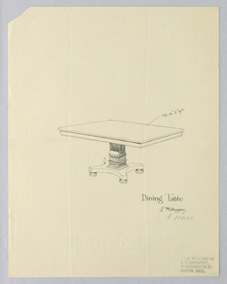 Drawing, Design for Dining Table of Mahogany on Rectangular Support, 1900–05