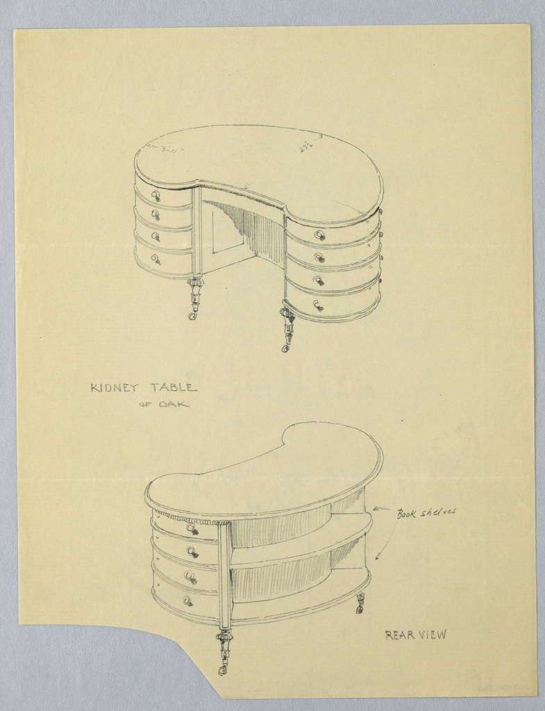 Drawing, Design for Kidney-Shaped Writing Table with Book Shelves at Back