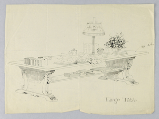 Drawing, Design for Large Library Table with Solid Scrolled Sides and Books, Lamp, Flowers, etc. on Top, 1900–05