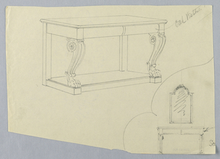 Drawing, Design for Console Table with Volute Supports and Lion Paw Feet