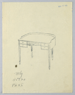 Drawing, Tracing of Design for Semi-Circular Writing Table, November 27, 1905