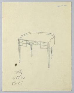 Drawing, Tracing of Design for Semi-Circular Writing Table, November 27, 1905