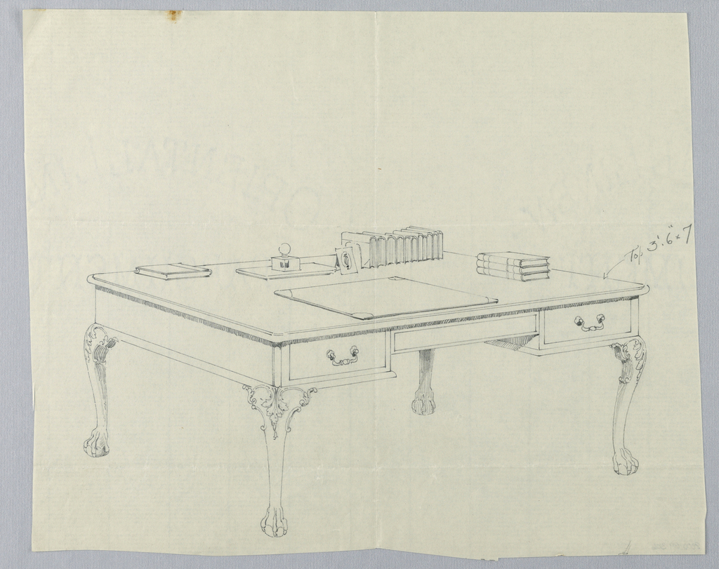 Drawing, Design for Large Rectangular Writing Table with Lion-Paw Feet and Books Atop