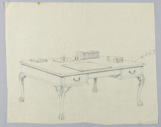 Drawing, Design for Large Rectangular Writing Table with Lion-Paw Feet and Books Atop, 1900–05