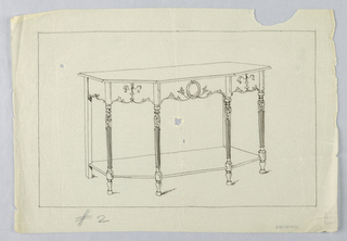 Drawing, Design for Console Table #2 with Round Tapering Fluted Legs