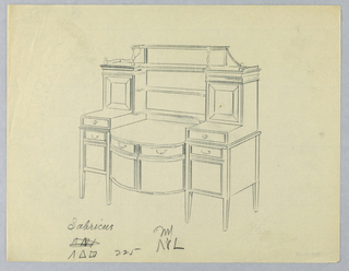 Massive sideboard with six short tapering legs; lower tri-partite front has convex central section with two enclosed cupboard shelves topped by two drawers flanked by flat side cabinets extending above center front, each having closed cupboard shelf topped by two drawers; raised recessed cabinet with molded cornice joined at center by top shelf supported by extended back and two turned balusters at front.  Three open shelves at equal intervals above lower center front.