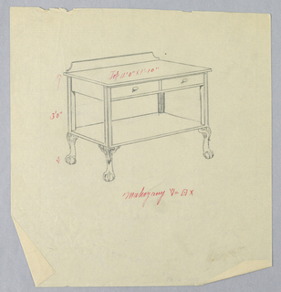 Rectangular table top with 2 drawers at front and conforming lower shelf; raised on 4 bracket-shaped straight legs terminating in scrolling ball and claw feet with acanthus leaf motifs at tops; backsplash.