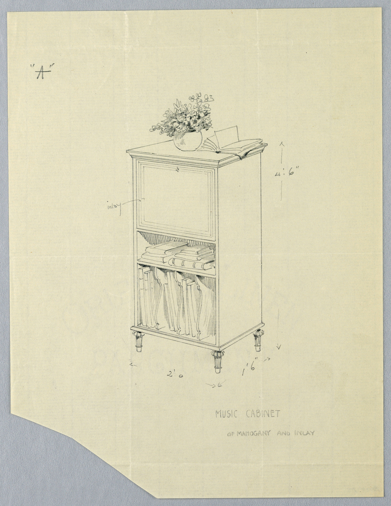 Rectangular body with hinged upper drawer and 2 open lower shelves with stacks of books and music notebooks separated by molded dividers; raised on 4 small tapering en toupee feet; flower vase and open book atop cabinet.