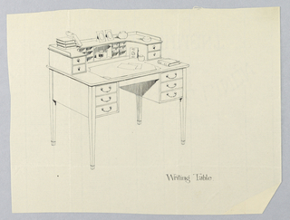 Rectangular top with 3 shallow drawers on either side; bracket-shaped cabinet rear of top consisting of open central section with niche containing inkwell and 6 open compartments on either side, flanked by short drawing; raised on 4 straight tapering feet; books, photograph frames, loose-leaf calendar, etc scattered across table top.