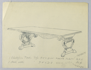 Drawing, Design for Library Table with Lions-Paw Feet to be Executed in Phillipine Teak or Dark Oak, 1900–05
