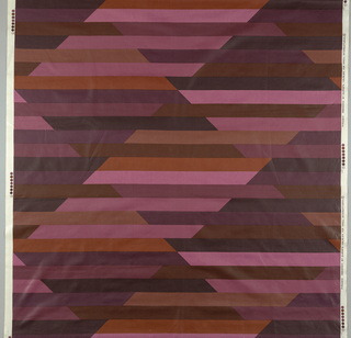 Harlequin design of tangent diamonds, intersected by horizontal stripes in varied tones of black, brown, purple, and violet.