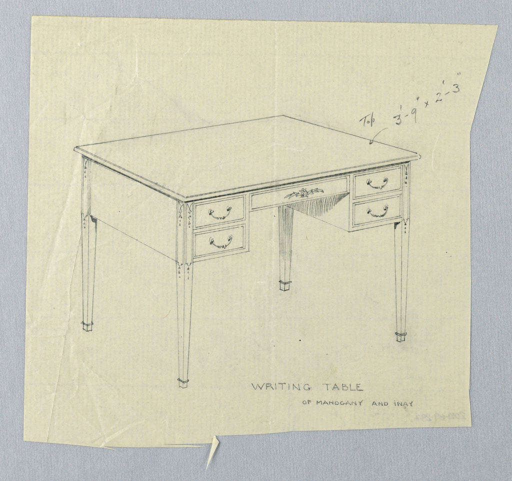 Drawing, Design for Rectangular Writing Table with Decorated Tops of Legs
