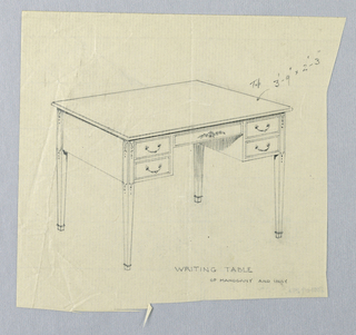 Drawing, Design for Rectangular Writing Table with Decorated Tops of Legs, 1900–05