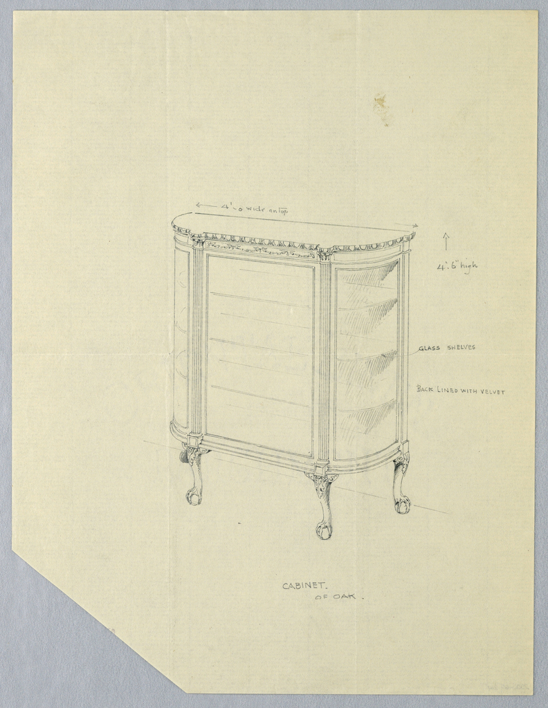 Three-quarter view of tri-partite, semi-lunar, glass-front cabinet with flattened central panel and 3 shelves; central front panel flanked by fluted pilaster-like elements supporting carved top; body rests on 4 short, carved cabriole legs terminating in ball-and-claw feet.