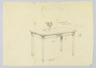 Drawing, Design for Rectangular Card Table with Extending Back Legs and Brass Feet