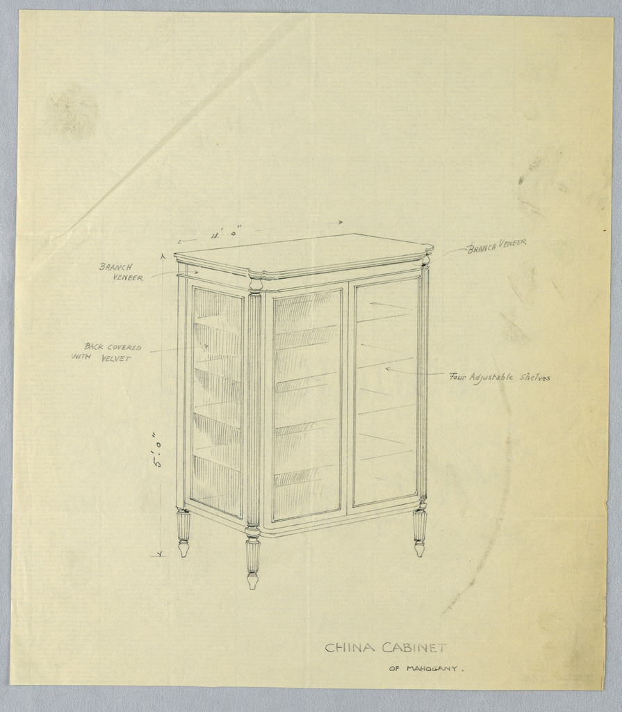 Rectangular china cabinet with molded top and glass doors, having 4 adjustable shelves; raised on 4 fluted and tapering columnar legs terminating in pear-shaped feet.