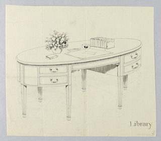 Drawing, Design for Oval Library Table with Tapering Square Legs, 1900–05
