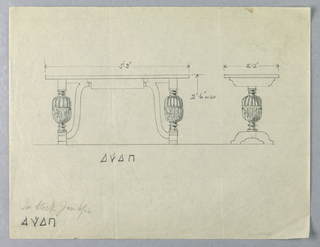 Drawing, Design for Library Table with Exaggerated Baluster Legs, in Two Views, 1900–05