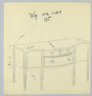 Rectangular sideboard  with serpentine front on six  straight tapered legs; convex center section of front has three drawers: two smaller ones atop one larger one, each with one round pull.