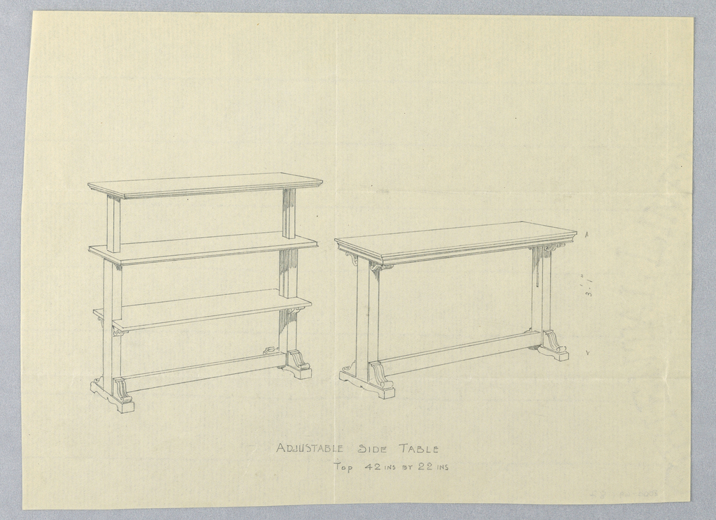 Two models of same design: at right, basic model with molded rectangular top, raised on 2 straight tapering supports on splayed bracket feet joined by single horizontal stretcher, scroll-like elements on tops of supports and above feet; at left, same model with 2 additional shelves, straight supports, and no scroll-like decoration
