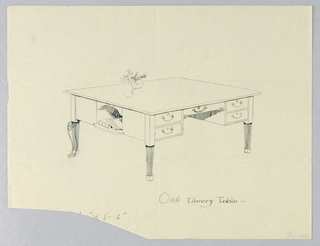 Drawing, Design for Library Table with Side Niche and Leg Variation Indicated, 1900–05