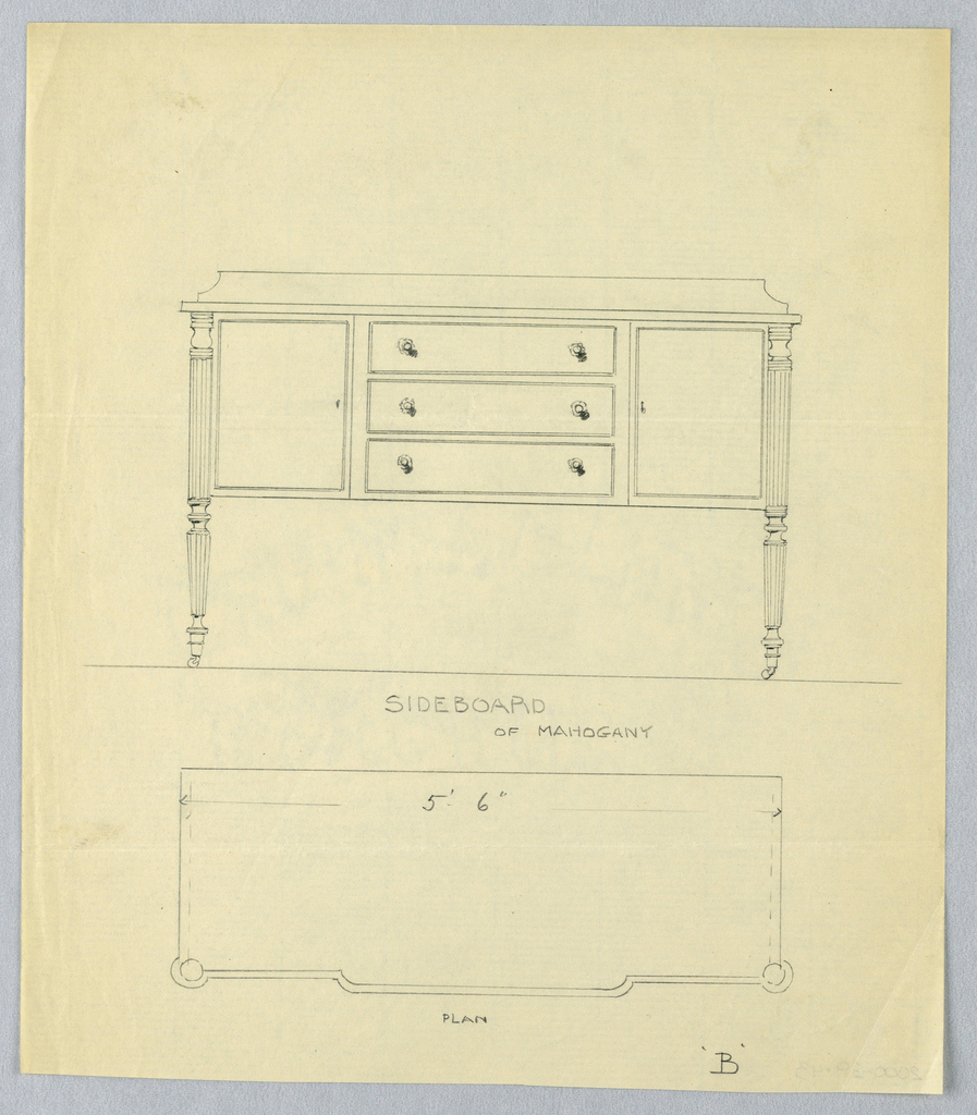 Elevation view: rectangular sideboard with 4 turned and fluted straight tapering legs on casters; tri-partite front has 3 drawers flanked by 2 doors; low backsplash. Plan view: slightly protruding front section with rounded front corners.