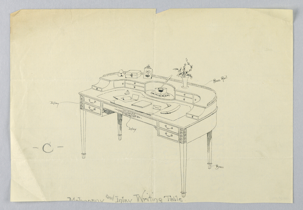 """Drawing, Design for Semi-Circular Writing Table """"C"""" with Brass Feet and Brass Railing"""