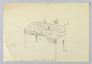 """Drawing, Design for Semi-Circular Writing Table """"C"""" with Brass Feet and Brass Railing, 1900–05"""