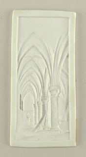 Vertical rec tangle with impressed view of an aisle in a Gothic church. Four columns, pointed arches in sharp perspective. Plain, narrow border in relief.