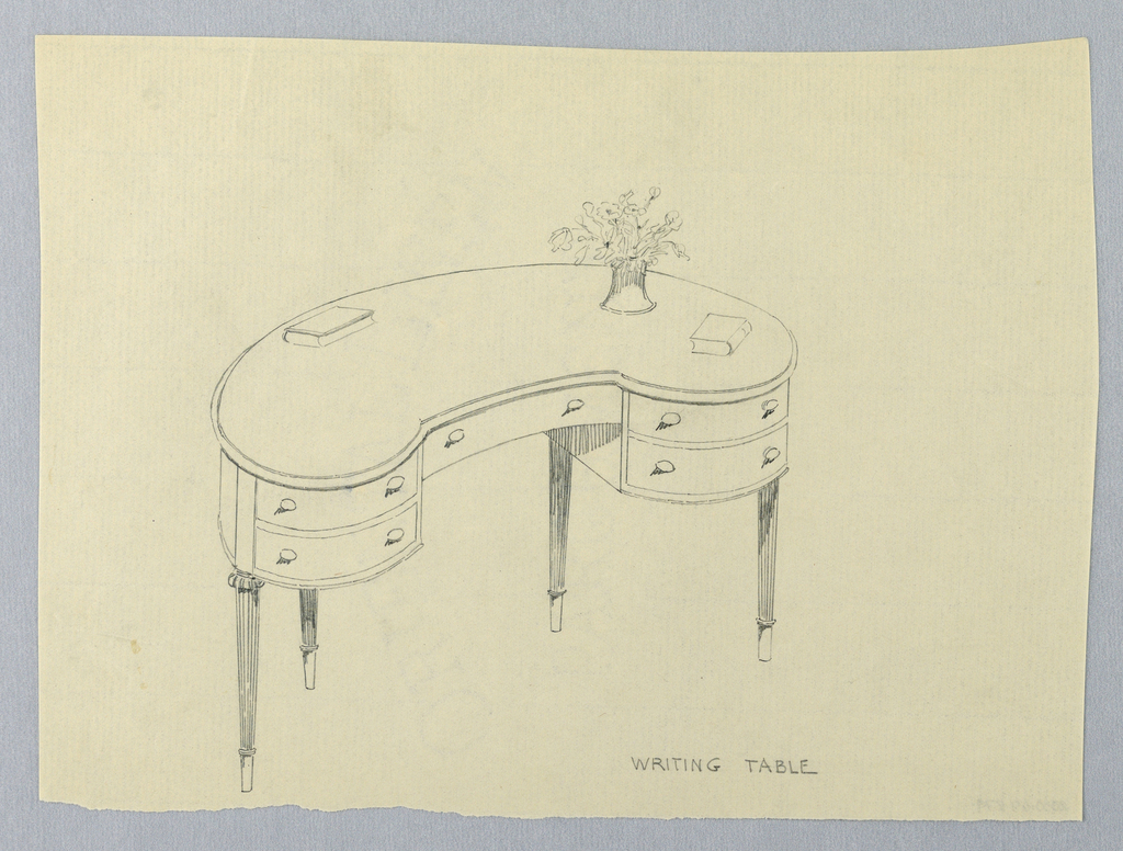 Drawing, Design for Kidney-Shaped Writing Table with Two Books and Vase of Flowers
